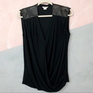 Helmut Lang Black Morse Lambskin Leather Top